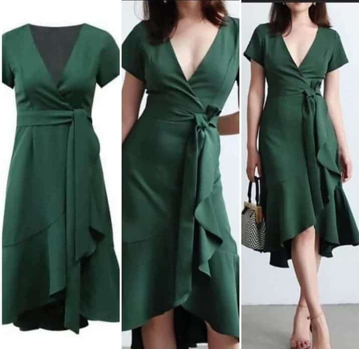 Alteration Green Dress With Ruffles