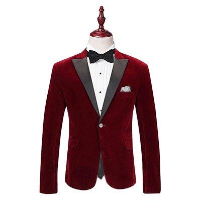 Red Tuxedo Jacket with black satin