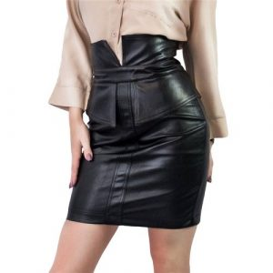 Shorten leather skirt With Vent